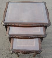 Nest of Three Dark Mahogany Coffee Tables